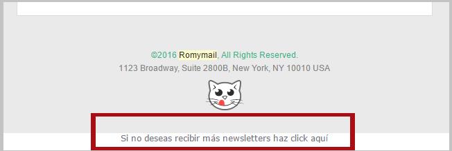 Enlace de baja en correo electrónico