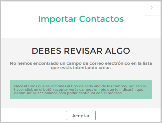 Error campo email