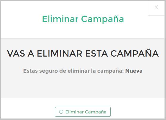 Confirmación para eliminar campaña