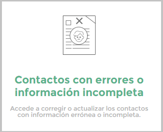 Contactos con errores o información incompleta