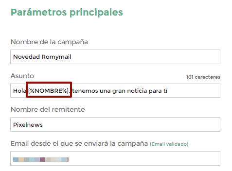 Personalizar Asunto con Campos