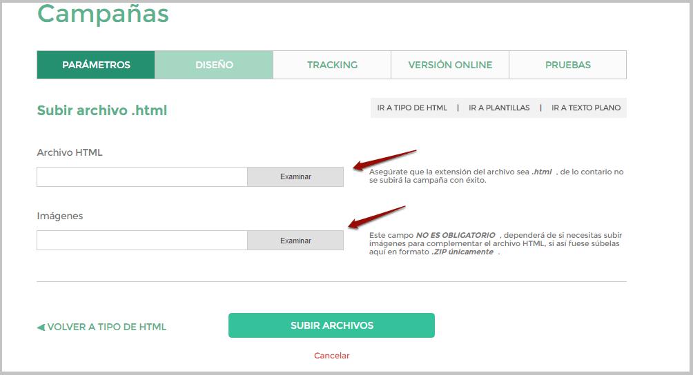 Subir archivo HTML y zip