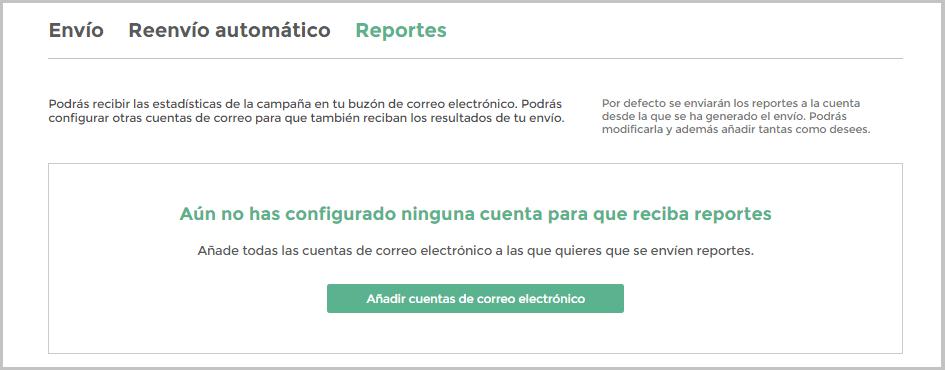Añadir cuentas para Reportes automáticos