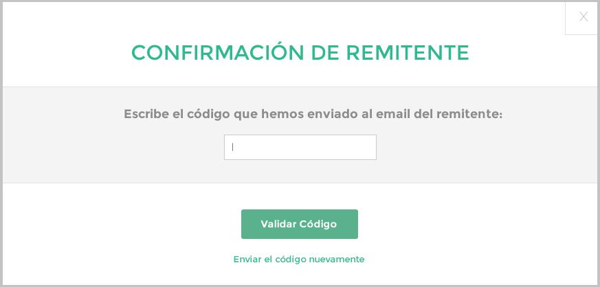 Reenviar código de validación