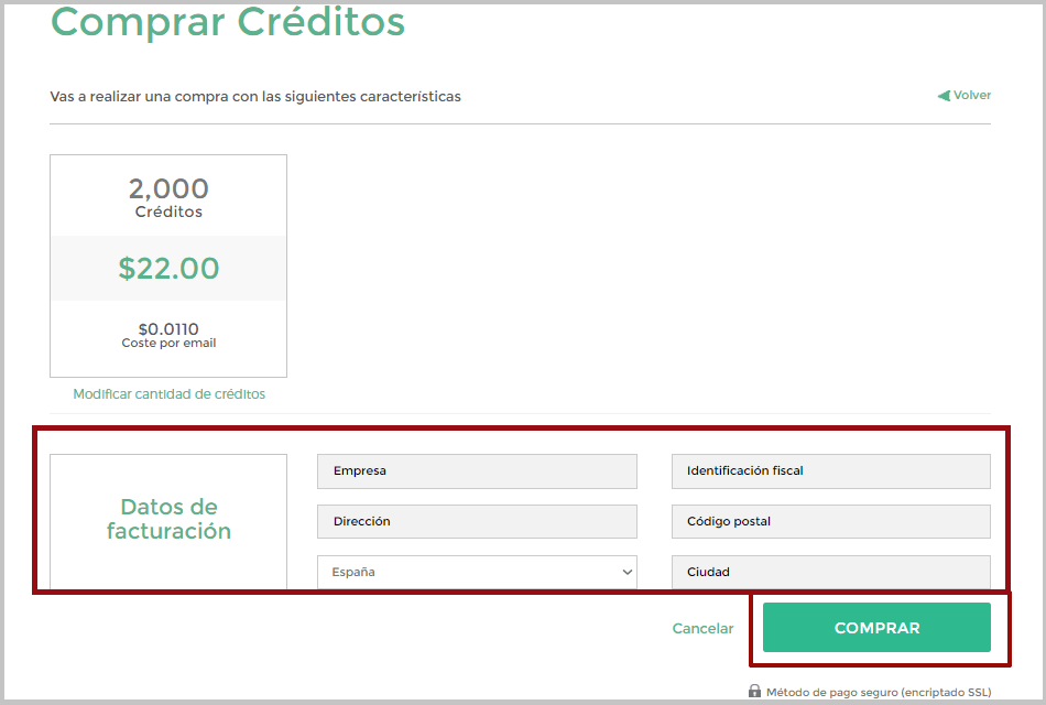 Introducir datos de facturación al comprar