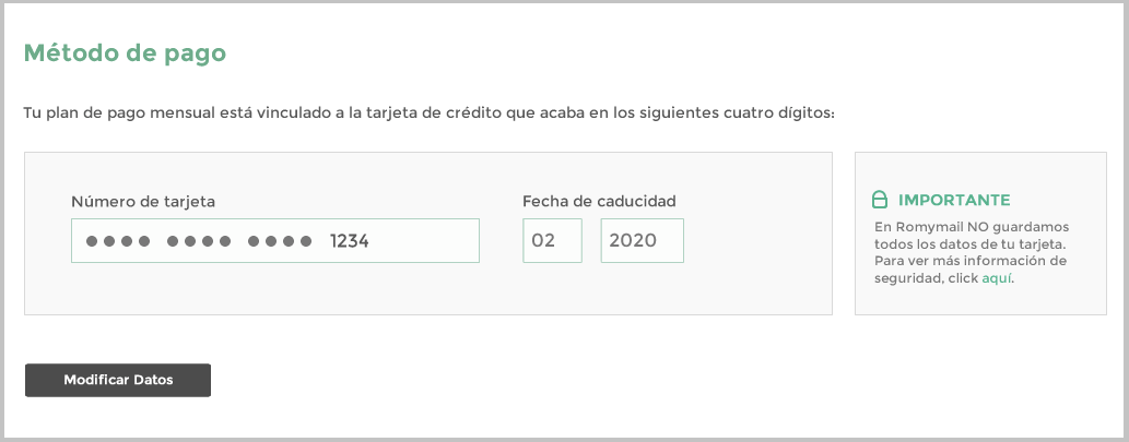 Datos tarjeta de crédito
